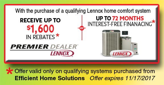 Lennox Home Comfort System Spring Rebate Savings