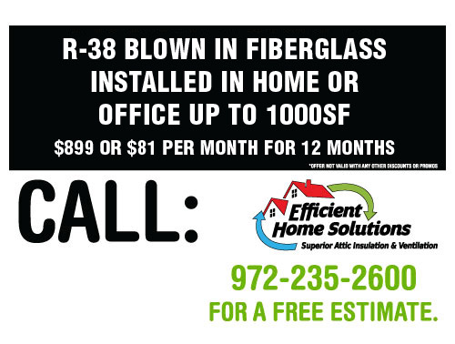 R-38 Blown-in Fiberglass installed in home or office up to 1000sf - $899 or $81 per month for 12 months.