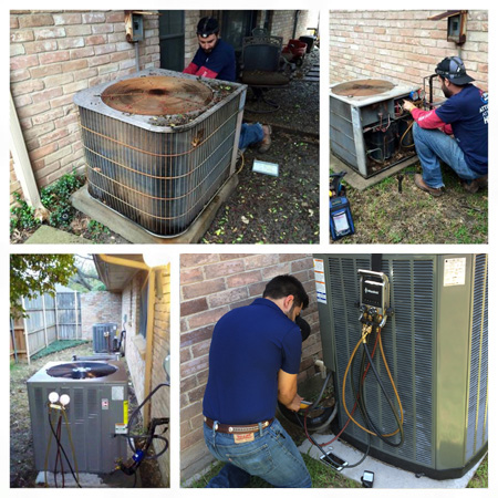 Air conditioner repair and new air conditioning unit.