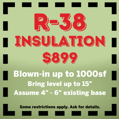 R 38 insulation Blown in up to 1000sf $899